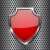 Metal красный экран 3d на предпосылке пефорированной металлом бесплатная иллюстрация