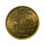 Metal монетки 100 лир Турции изолированной на белой предпосылке Стоковые Фотографии RF
