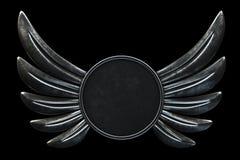 Metal логотип круга крылов изолированный на черной предпосылке 3d представляют иллюстрация штока