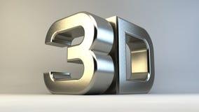 Metal логотип 3D изолированный на белой предпосылке с Стоковое Фото