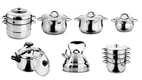 Metal лотки, посуда, изолировал белую предпосылку Стоковая Фотография