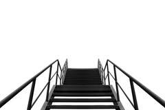 Metal пожарная лестница или аварийный выход на оранжевой стене Buliding Стоковые Фото