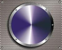 Metal предпосылка с грилем и стальной диск в центре Стоковая Фотография RF