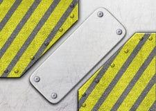 Metal предпосылка с предупреждающей расцветкой черной и желтой, 3d, больное Стоковая Фотография