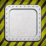 Metal предпосылка с предупреждающей расцветкой черной и желтой, 3d, иллюстрация штока