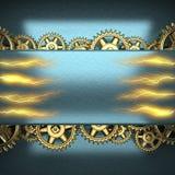 Metal предпосылка с шестернями cogwheel и электрической молнией Стоковые Изображения RF
