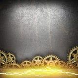 Metal предпосылка с шестернями cogwheel и электрической молнией Стоковые Изображения
