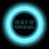 Metal продажа с голубыми светами с черным кругом Стоковое Изображение
