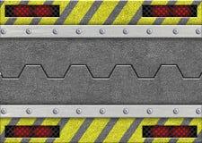 Metal раздвижная дверь с предупреждающей лентой, 3d, иллюстрация Стоковые Фото