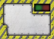 Metal раздвижная дверь с предупреждающей лентой, 3d, иллюстрация бесплатная иллюстрация