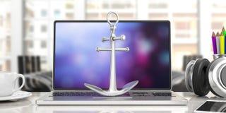 Metal сияющий анкер корабля на клавиатуре компьютера, предпосылке дела офиса нерезкости иллюстрация 3d иллюстрация вектора