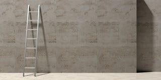 Metal склонность лестницы против каменной стены, скопируйте космос иллюстрация 3d иллюстрация штока