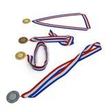 Metal собрание медалей с tricolor лентой на белизне иллюстрация 3d Стоковая Фотография RF