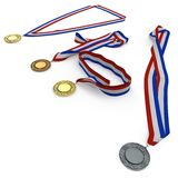 Metal собрание медалей с tricolor лентой на белизне иллюстрация 3d Стоковое фото RF