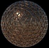 Metal сфера обернутая в сетку треугольников, изолированную на черноте Стоковое Изображение