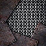 Metal текстура скрепленная с заклепками, трудная предпосылка сетки, 3d Стоковые Фотографии RF