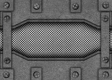 Metal текстура скрепленная с заклепками, трудная предпосылка сетки, 3d, иллюстрация штока