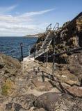Metal тропа через утесы на северном Berwick, Шотландии Стоковые Фото
