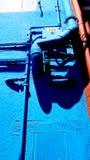 Metal труба и электрическая коробка на голубом цвете wal Стоковые Изображения RF