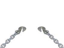 Metal цепь и крюк изолированные на белой предпосылке Стоковое Изображение