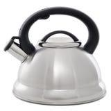 Metal чайник при свисток изолированный на белой предпосылке Стоковая Фотография RF