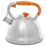 Metal чайник при свисток изолированный на белой предпосылке Стоковое Изображение