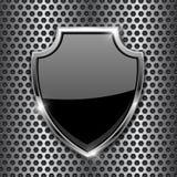 Metal черный экран 3d на предпосылке пефорированной металлом иллюстрация вектора