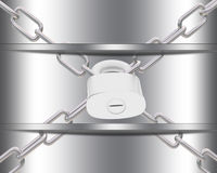 Metal шаблон с цепями и padlock Стоковые Изображения RF