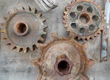 Metal шестерни, ржавые части металла, античные части Стоковая Фотография RF