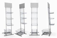 Metal шкаф с корзинами для экспозиции продукта с пустой полкой иллюстрация вектора