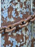 Metal штендер ржавчины и цепь, абстрактная предпосылка grunge Стоковое Фото