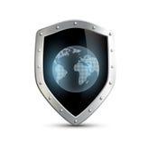 Metal экран с изображением земли планеты изолированный на белом b Стоковое Изображение RF