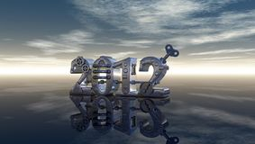 Metal 2012. Metal number 2012 under blue sky - 3d illustration Royalty Free Stock Photos