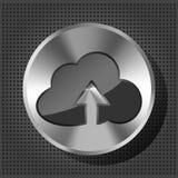 Metal кнопка с иконой и стрелкой облака Стоковые Фотографии RF