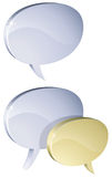 Metal 3D speech bubbles isolated. On white background vector illustration