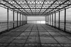 Metal abandoned structure on the black sea coast stock photography