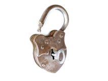 Metal abierto del vintage de la llave de cerradura aislado Fotos de archivo
