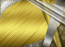 Metal abstract background. Beautiful illustration of metallic abstract background in grey and yellow tones Royalty Free Stock Images