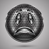 Metal aherrumbrado triste Smiley Face Button Imagenes de archivo