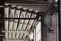Metal air ducts in a factory Royalty Free Stock Photography