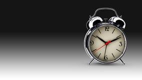 Metal alarm clock. 3D render. Metal alarm clock on abstract background. 3D render Royalty Free Stock Image
