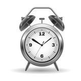 Metal alarm clock  on white Stock Photo
