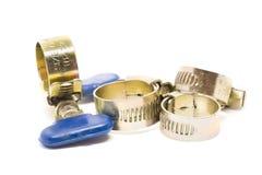 Metal and alloy hose strap. Metal and alloy hose strap on white background Royalty Free Stock Image