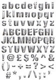 Metal Alphabet. Full alphabet made to look like steel including bevel. Alphabet includes upper and lower cases and punctuation and secondary characters like the
