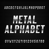 Metal alphabet font. Chrome effect letters and numbers on a dark background. Stock vector typography for headlines, posters, logos etc Royalty Free Stock Images