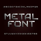 Metal alphabet font. Chrome effect letters and numbers on a dark background. Tough vector typeset for your design vector illustration
