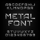 Metal alphabet font. Chrome effect letters and numbers. Tough vector typeface for your design Stock Photos