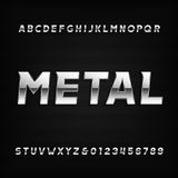Metal alphabet font. Chrome effect oblique letters and numbers. Stock Photography