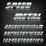 Metal alphabet and symbols with reflection and shadow. Font for design. Royalty Free Stock Photography