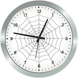 Metal analogue clock with spider web Stock Images